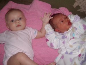 Infant Phoebe on the right.
